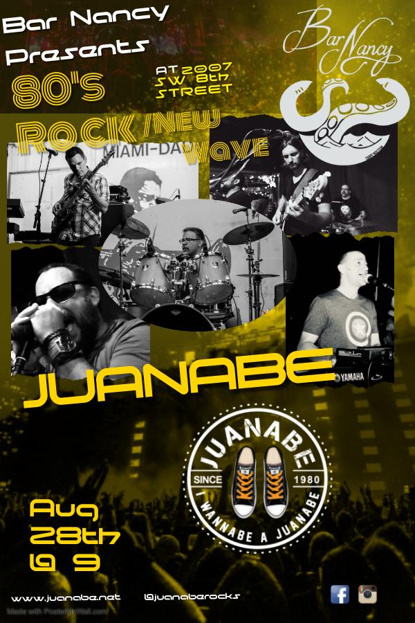 JUANABE AT BAR NANCY AUGUST 28TH AT 9PM